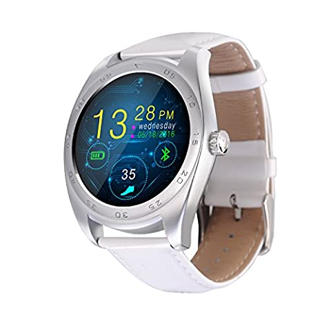 RGTOPONE Multifunctional Bluetooth Smart Watch Splash Resistant Sports Bracelet Pedometer Tracker Fitness Fitness Distance Camera Health Monitor For Android IOS (En cuir blanc Montre)