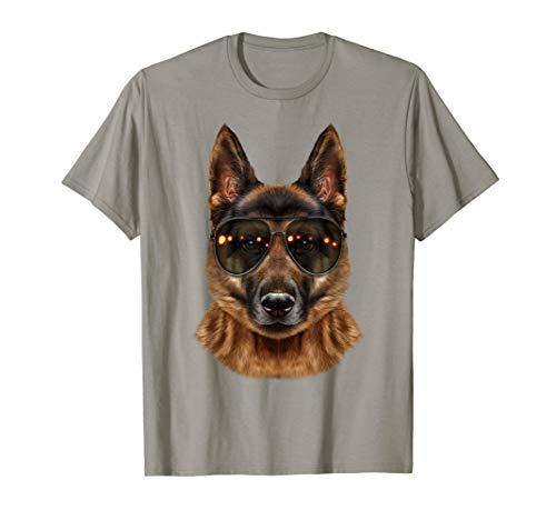 Deutscher Schäferhund, Aviator Sonnenbrille Trägt - T-Shirt