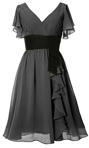 MACloth - Robe - Trapèze - Manches Courtes - Femme Noir