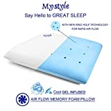 MYSTYLE Orthopedic Memory Foam Bed Sleeping Pillow with Cool Gel Infused Ring Hole