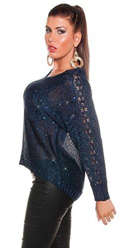 Superbe Haute Basse pour femme pull avec paillettes et crochet sur les bras. Bleu - Bleu marine