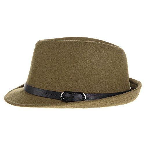 WITHMOONS Chapeau Fedora Wool Felt Fedora Hat Trilby Leather Belt Band SL6448 Jaune