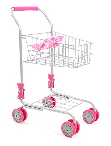 Einkaufswagen aus Metall mit integriertem Puppensitz, tolle Ergänzung zum Kaufladen