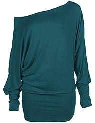 Femmes manches longues Encolure dames raffinent une épaule Batwing Top T-shirt Tunique épaule à manches longues pour Hauts Femme taille 36-54