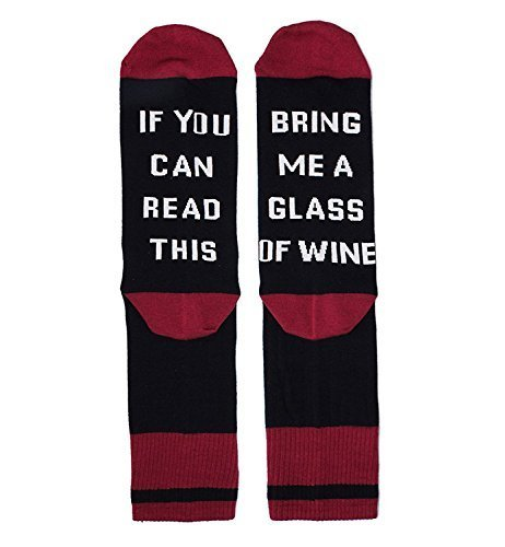 SurBepo Unisex Funny Saying Knitting Word Combed Cotton Crew Wine Coffee Taco Beer Socks