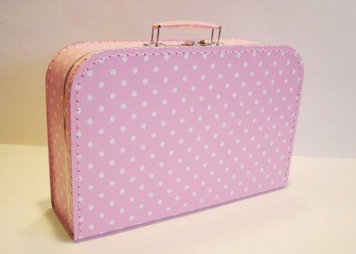 Koffer Pappe, rosa + weiße Punkte, Vichy, groß, 35cm, Pappkoffer