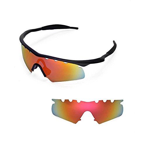 Walleva Entlüftete Ersatzgläser für Oakley M Frame Hybrid Sonnenbrille - 11 Optionen (Feuerrot Mirror Coated - Polarisiert)