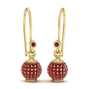 KuberBox Utsav Changeable Ruby 14k Yellow Gold and Diamond Stud Earrings