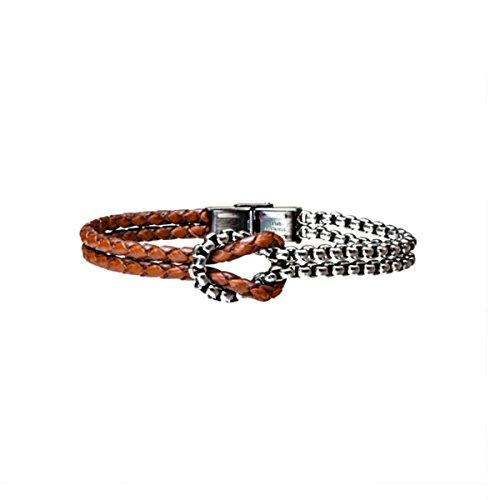 en Armband Leder geflochten braun und Stahl Knoten Seemann (Seemann Knoten-armband)