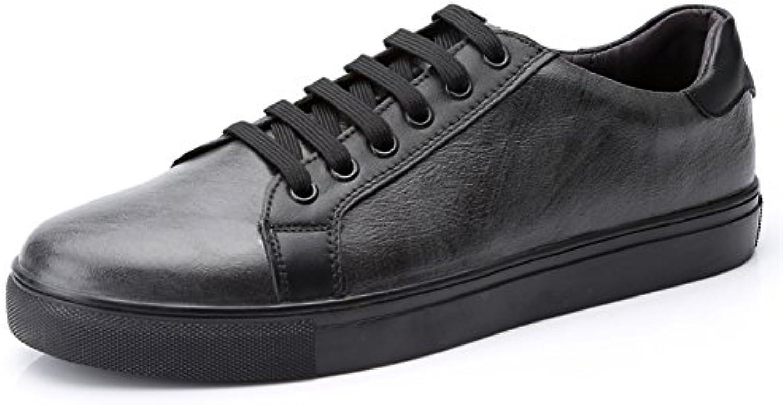 Toptak Zapatillas Bajas De Cuero para Hombres Clásicas Negro Zapatillas Deportivas De Gimnasia,US10.0-EU46