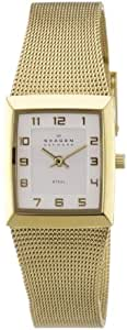 Skagen Ladies Watch 523XSGG with Gold Stainless Steel Bracelet and Silver Dial