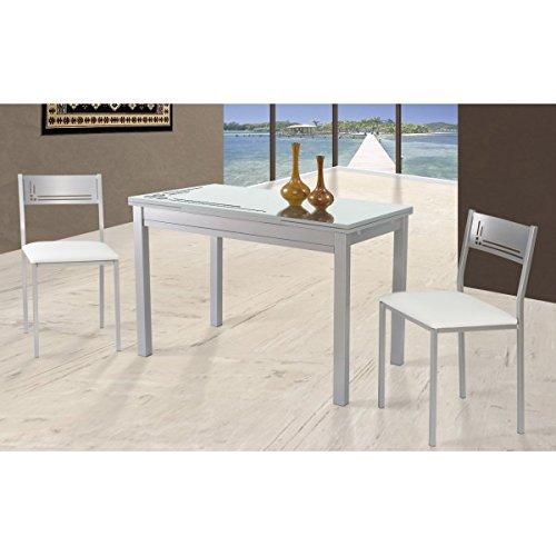 SHIITO Mesa de Cocina Extensible de 110x70 cm con cubertero y Tapa ...