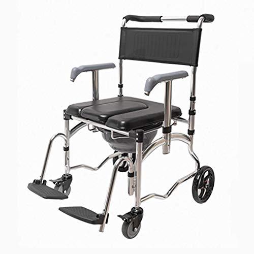 Drive Medical-transport-stuhl (OHHG Kommode Stuhl Mit Rädern - Nachttisch Dusche Transport Stuhl wasserdichte Aluminium Tragbare Faltbare Bad Toilettenstuhl)