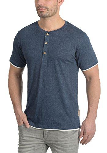 Indicode Tony Herren T-Shirt Kurzarm Shirt Grandad-Kragen Aus Hochwertigem Material Navy Mix