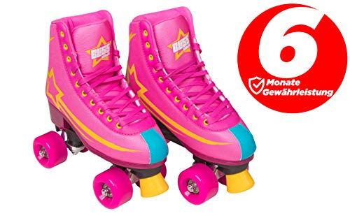 Bliss Rollerskates Mädchen Rollschuhe Damen - Indoor Outdoor Roller Skates Größe 31-42 Rollschuh Rockstar Edition (rosa, 33)