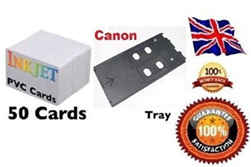 ID Card Starter Kit–50Hohe Qualität Inkjet ID Karten & Tablett für verschiedene Canon Drucker bedruckbar beiden Seiten Kreditkarte Größe helles Weiß, seidenglänzender Tablett, die in dieses Kit ist bestätigt zu arbeiten auf der folgenden Inkjet PVC Card Tray für Canon Drucker Canon iP4600, Canon MP558, Canon iP4700, Canon iP4760, Canon iP4810, Canon IP4820, Canon iP4840, Canon iP4850, Canon iP4880, Canon ip4910, Canon iP4920, Canon IP4950, Canon ip4980, Canon MG5220, Canon MG5240, Canon MG5250, Canon MG5320, Canon MG6120, Canon MG6140, Canon MG6150, Canon MG6220, Canon MG8120, Canon MG8140, Canon MG8150, Canon MG8220, Canon MG8240, Canon MP630, Canon MP640, Canon MP980, Canon MP990.