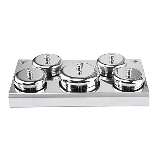 TAOtTAO nagelkristall-flüssigpulverbecher mit deckelbehälter kristall-flüssiges Pulver-Cup-Abdeckungs-Nagel-Pulver-behälter-Edelstahl-Cup für Nagel-Kunst (5 pcs) 3 Cup Container