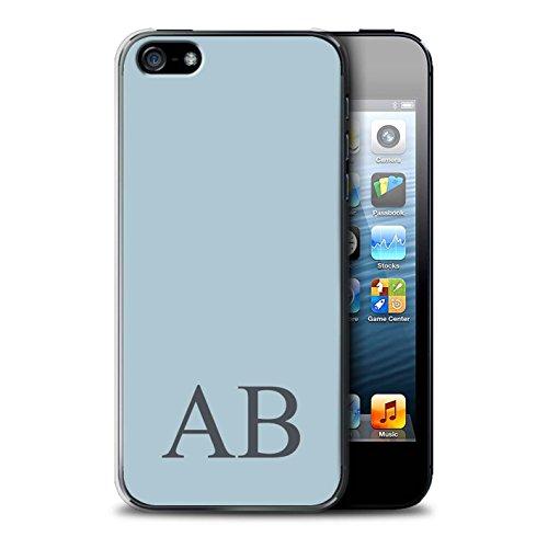 Personalisiert Pastell Monogramm Hülle für Apple iPhone SE / Grünes Design / Initiale/Name/Text Schutzhülle/Case/Etui Blaues
