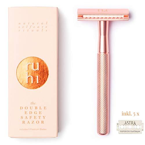 ruhi® Premium Designer Rasierhobel Damen *TESTSIEGER BILD* rosé gold Messing nachhaltig mit 5 ASTRA Rasierklingen Zero Waste| plastikfreier Rasierer Damen |Safety Razor