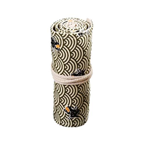 Qinlee 48 slots Leinwand Stifterolle Pencil Wrap Roll up Holder mit Wolke Tasche Federmappe Verpackungshalter Bleistift Wrap Kasten Bleistifthalter für Künstler Schule Blumenuhr -