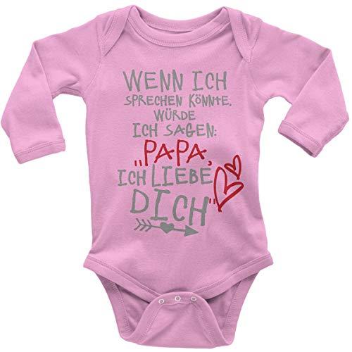 Mikalino Babybody mit Spruch für Jungen Mädchen Unisex Langarm Wenn ich sprechen könnte würde ich Sagen: Papa ich Liebe Dich   handbedruckt in Deutschland  , Farbe:rosa, Grösse:68