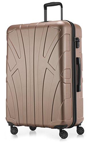 SUITLINE - Hartschalen-Koffer Koffer Trolley Rollkoffer Reisekoffer, TSA, 76 cm, 110 Liter,Gold