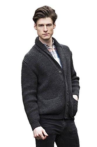 Aran Crafts 100% Merino Wolle Schalkragen Strickjacke (Holzkohle, S) -