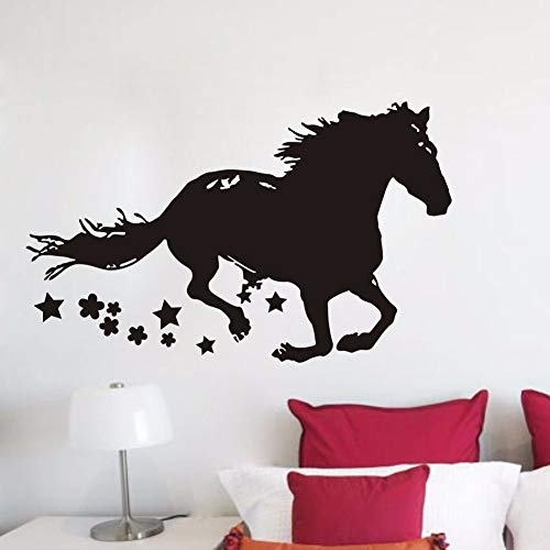 jiuyaomai Running Horse Wandtattoo Dekoration Pferd Zeichnung Silhouette Vinyl Wandaufkleber Abnehmbare Pferd Tier Tapete A schwarz 93x57 cm