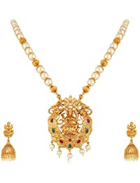 Meenaz Temple Jewellery Traditional One Gram Lakshmi Kundan Pearl Gold Pendant Necklace Set/Jewellery Set Jhumka...