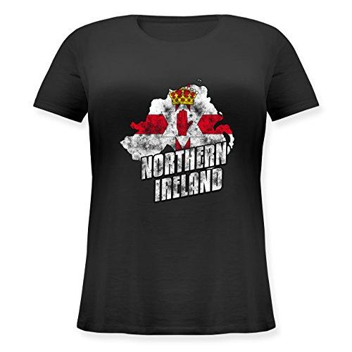 EM 2016 - Frankreich - Northern Ireland Umriss Vintage - Lockeres Damen-Shirt in großen Größen mit Rundhalsausschnitt Schwarz