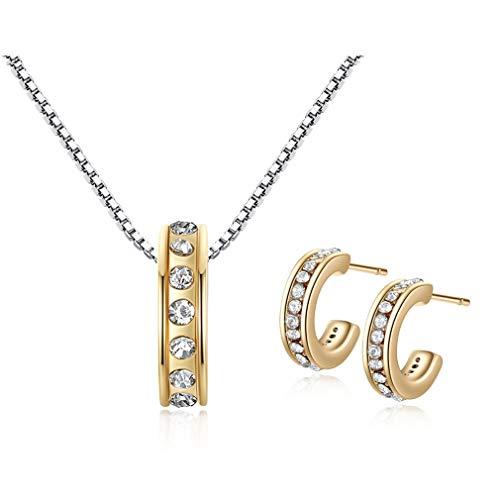 Yazilind Stylish Jewellery Set Crystal Semi-Circle Ohrstecker & Halskette Gold