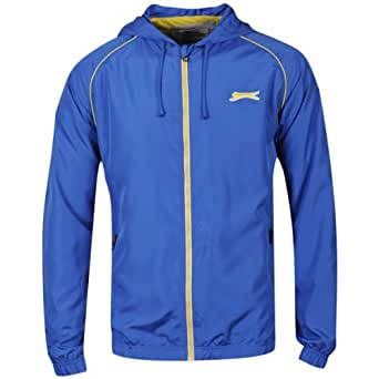 Slazenger Mens Zip Through Hooded Kagoule - Royal Blue/Yellow - S
