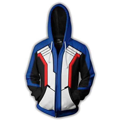 dat 76 Print Hoodies Polyester Fleece Hoodies Lässige Hoodies Outdoor Reise Sweatshirt Cosplay Kostüm,Blue-M ()