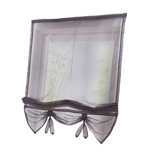 KESOTO Kurze Raffrollo Raffgardine Fenster Rollo Gardine Vorhang, Landhausstil - Grau 80x155cm