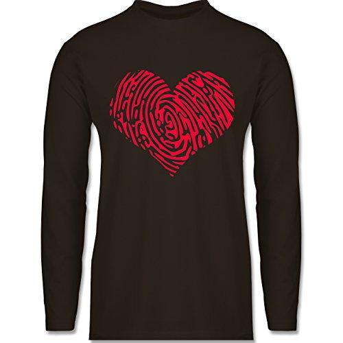 Shirtracer Statement Shirts - Herz Fingerabdruck Rot - Herren Langarmshirt Braun