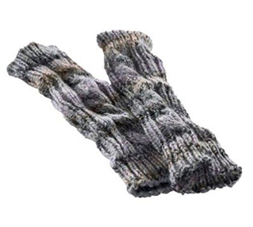 Connection-schal (Stulpen Armstulpen Handschuhe fingerlos mit Daumenloch Lila Grau)