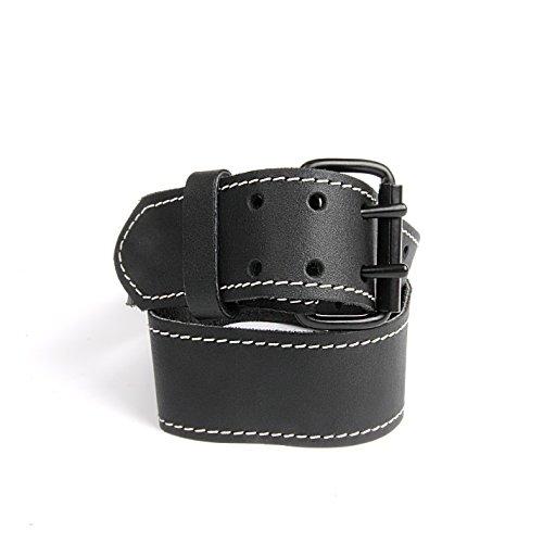kwb 908830 Leder-Gürtel aus robustem Rinds-Leder, Doppelsteg-schnalle, in Schwarz, 115 cm, mit weißer Naht, für Werkzeug-Taschen, Jeans u. v. m.