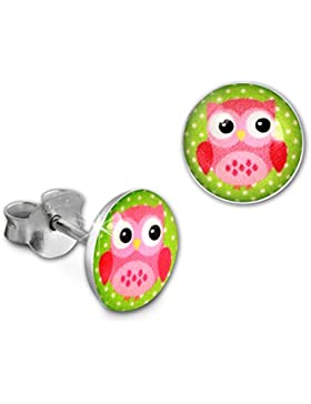 Teenie Weenie Kinder-Ohrringe rund Motiv Eule rosa Mädchen Stecker 925 Silber SDO85135