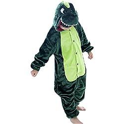 DEBAIJIA Pijama Animal Dinosaurio para Niños Niñas Disfrace Cosplay Franela Traje del Anime Invierno Calentito Pyjamas Navidad Onsie Verde-125