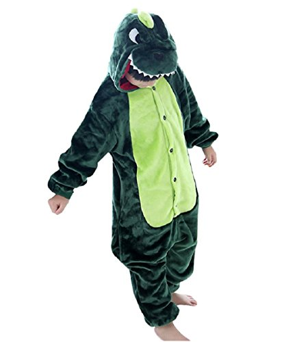 Kinder Flanell Jumpsuit Dinosaurier Kostüme Overall Pyjama Jungen Mädchen Tierkostüme Onesie Schlafanzug Grün - 95
