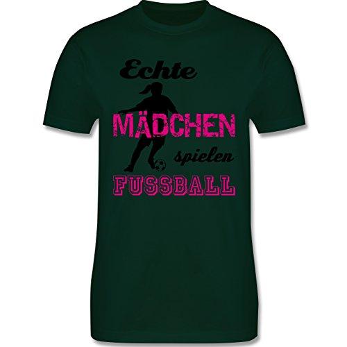Shirtracer Fußball - Echte Mädchen Spielen Fußball - Schwarz - Herren T-Shirt Rundhals Dunkelgrün