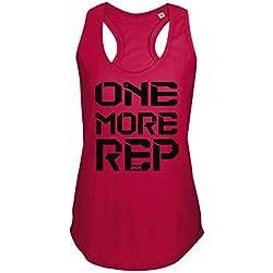 GO HEAVY Mujer Racer Camiseta Tirantes Deporte de Gimnasio Camiseta sin Mangas | Yoga Sport Top One More Rep Rojo M