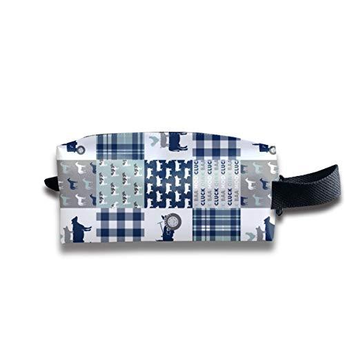 Life - Plaid Wholecloth Patchwork - Marine und Staubblau (90) _12707 Tragbare Reise-Make-up-Kosmetiktaschen Organizer Multifunktions-Tasche Taschen für Unisex ()