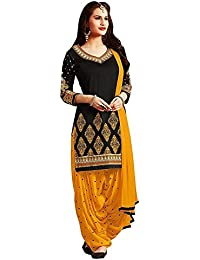 Jashvi Creation Women's Printed Unstitched Regular Wear Dress Material (JC_DM_YELLOW_AND BLACK)