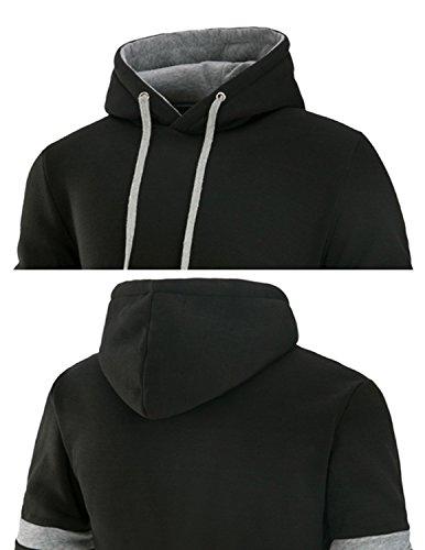 YCHENG Herren Kapuzenpullover Sweatshirt Pullover Sweatjacke Unisex Hoodie Regular Fit Schwarz