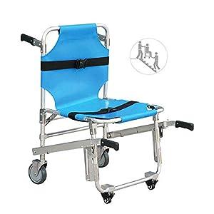 XIHAA Treppenstuhl, Faltbarer Medizinischer Notfall-Einzelne Personen-Operations-Treppen-Stuhl, Sanitäter-Patienten-Transport 4 Rad Evakuierungs-Stuhl, Blau Belastbarkeit: 350 Lbs