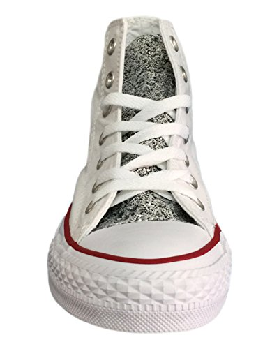 Converse All Star con tessuto glitter argento su tallone e linguetta Bianco