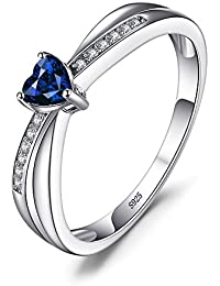 JewelryPalace Liebe Herz 0.38ct Synthetiche Blau Saphir Engagement Ring 925 Sterling Silber