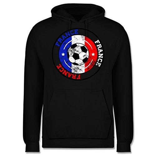EM 2016 - Frankreich - France Kreis & Fußball Vintage - Männer Premium Kapuzenpullover / Hoodie Schwarz