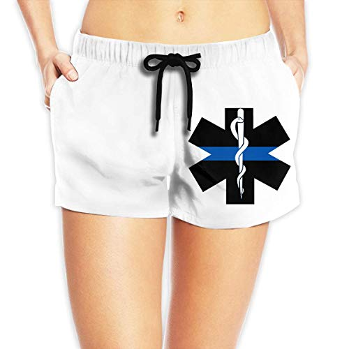 Womens Black Emt Pant (LULUZXOA EMS Star of Life EMT Paramedic Medic Women's Summer Beach Shorts Swim Trunks,S)